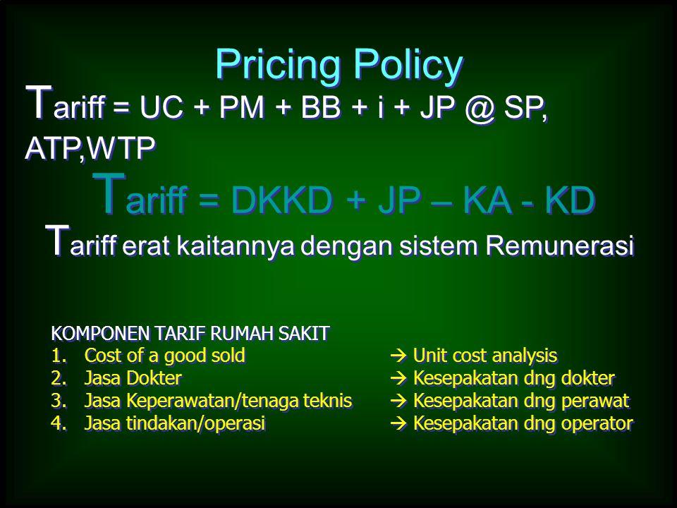 Pricing Policy T ariff = UC + PM + BB + i + JP @ SP, ATP,WTP T ariff = DKKD + JP – KA - KD KOMPONEN TARIF RUMAH SAKIT 1.Cost of a good sold  Unit cos