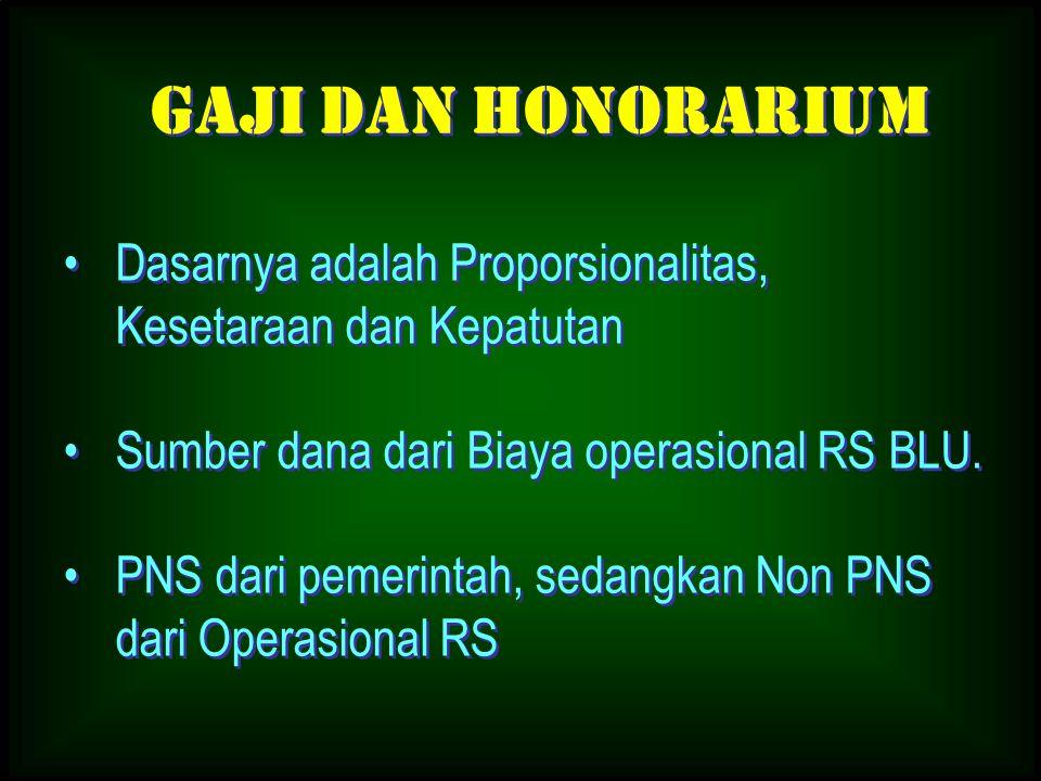 Dasarnya adalah Proporsionalitas, Kesetaraan dan Kepatutan Sumber dana dari Biaya operasional RS BLU. PNS dari pemerintah, sedangkan Non PNS dari Oper