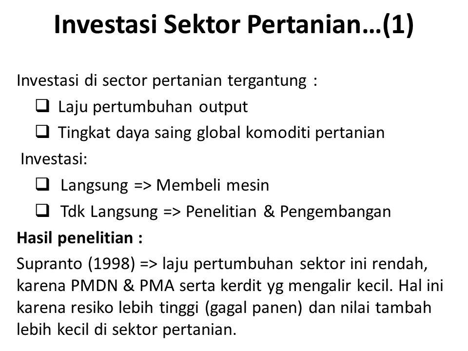 Investasi Sektor Pertanian…(1) Investasi di sector pertanian tergantung :  Laju pertumbuhan output  Tingkat daya saing global komoditi pertanian Inv