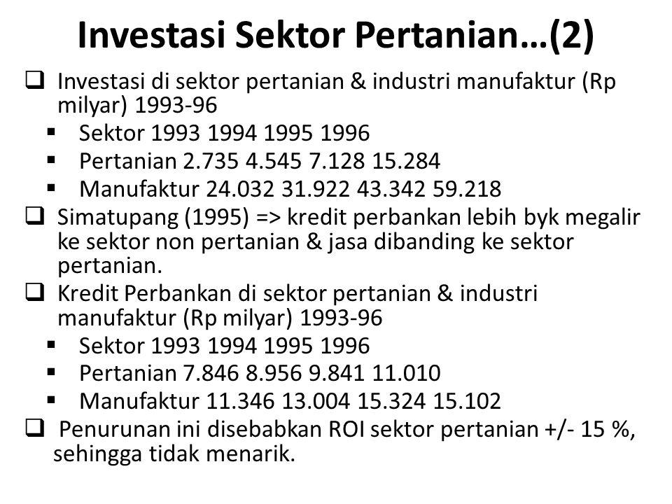 Investasi Sektor Pertanian…(2)  Investasi di sektor pertanian & industri manufaktur (Rp milyar) 1993-96  Sektor 1993 1994 1995 1996  Pertanian 2.73