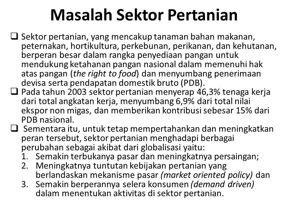 Sektor Pertanian di Indo…(3) Temuan hasil studi dampak perjanjian GATT: 1)Skertariat GATT (Sazanami, 1995) => Perjanjian tsb berdampak + yakni peningkatan pendapatan per tahun => Eropa Barat US $ 164 Milyar, USA US$ 122 Milyar, LDC s & Eropa Timur US $ 116 Milyar.