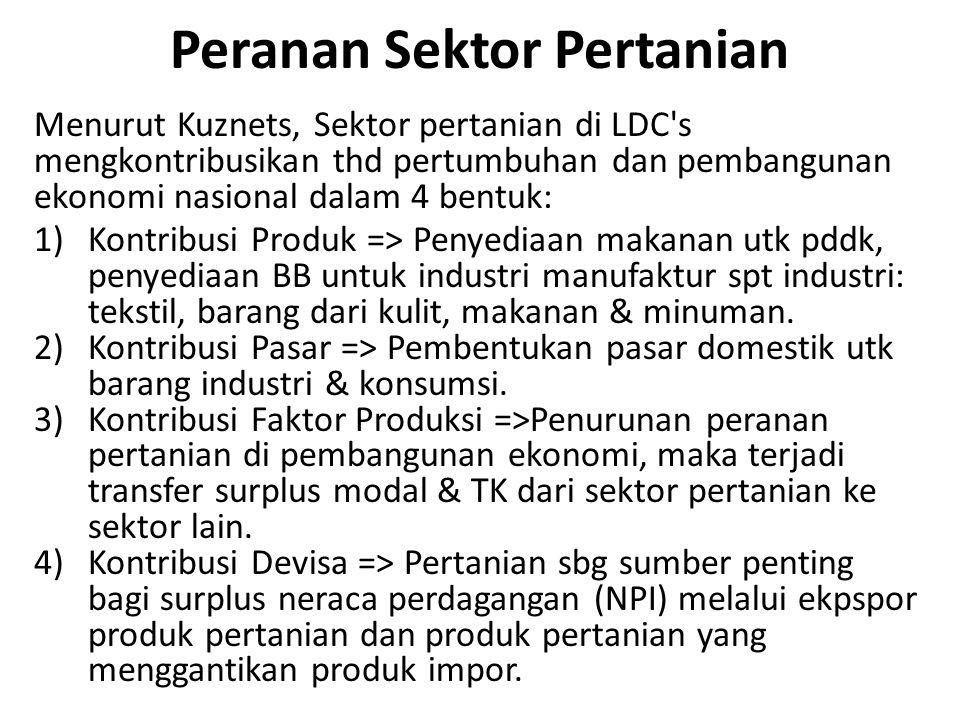 Peranan Sektor Pertanian Menurut Kuznets, Sektor pertanian di LDC's mengkontribusikan thd pertumbuhan dan pembangunan ekonomi nasional dalam 4 bentuk: