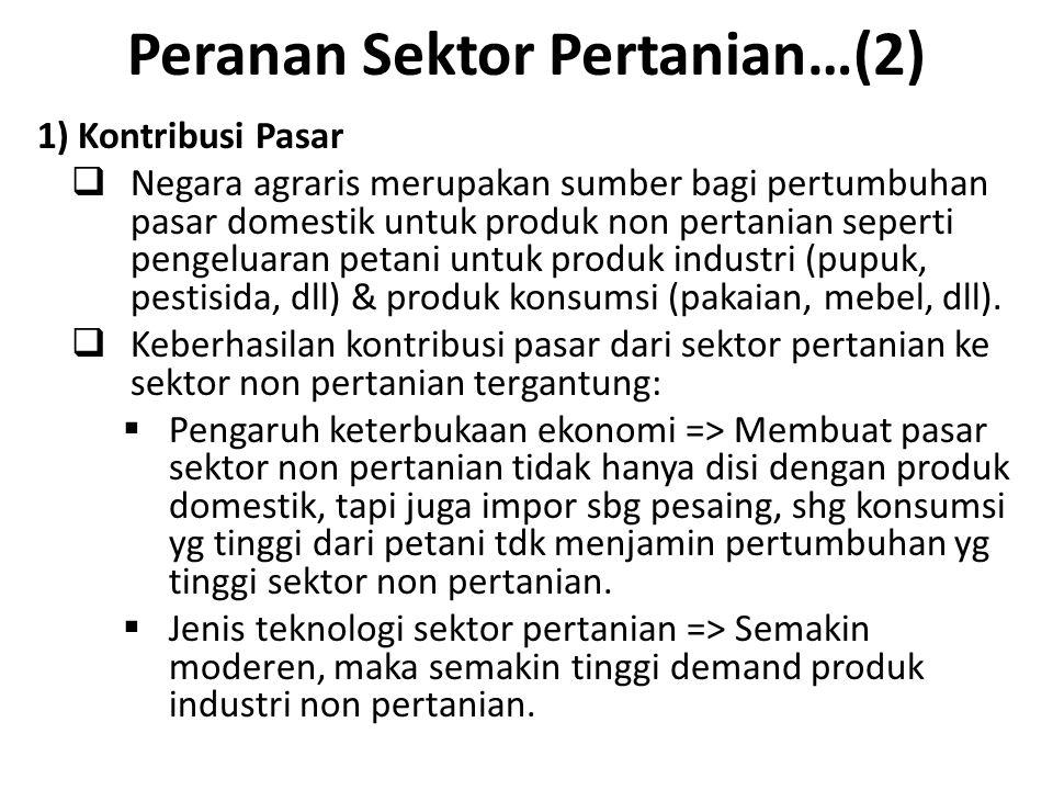 Peranan Sektor Pertanian…(3) 3) Kontribusi Faktor Produksi  Faktor produksi yang dapat dialihkan dari sector pertanian ke sektor lain tanpa mengurangi volume produksi pertanian => Tenaga kerja dan Modal.
