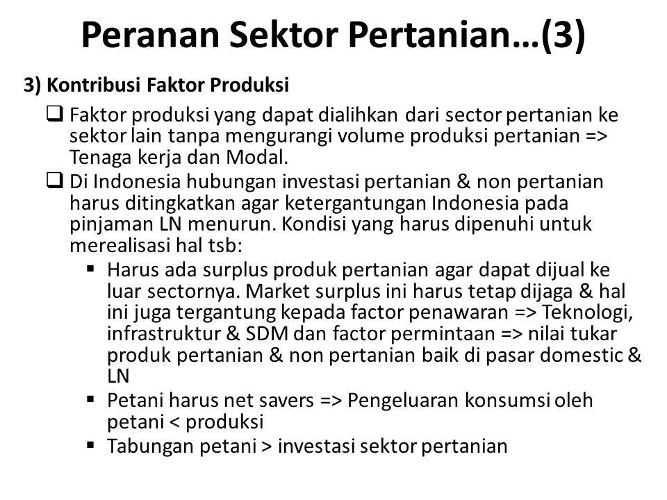 Peranan Sektor Pertanian…(3) 3) Kontribusi Faktor Produksi  Faktor produksi yang dapat dialihkan dari sector pertanian ke sektor lain tanpa mengurang