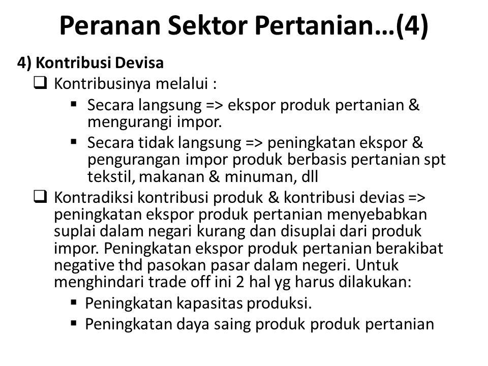 Peranan Sektor Pertanian…(4) 4) Kontribusi Devisa  Kontribusinya melalui :  Secara langsung => ekspor produk pertanian & mengurangi impor.  Secara