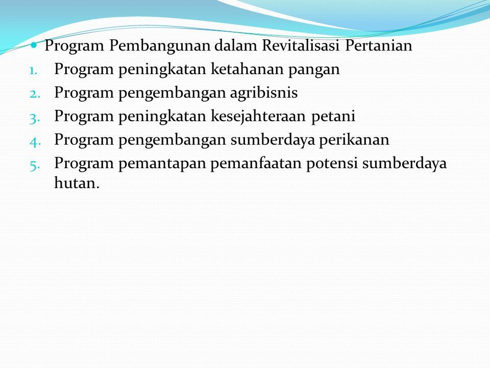 Program Pembangunan dalam Revitalisasi Pertanian 1.