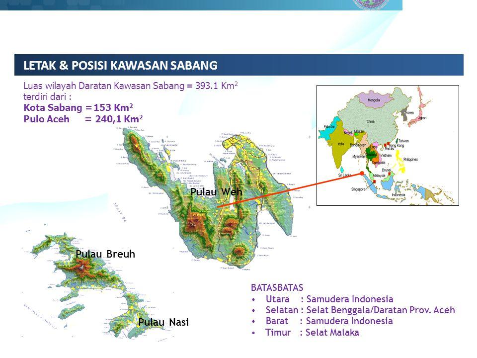 LETAK & POSISI KAWASAN SABANG BATASBATAS Utara : Samudera Indonesia Selatan : Selat Benggala/Daratan Prov.