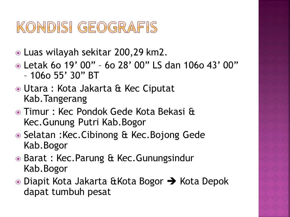" Luas wilayah sekitar 200,29 km2.  Letak 6o 19' 00"" – 6o 28' 00"" LS dan 106o 43' 00"" – 106o 55' 30"" BT  Utara : Kota Jakarta & Kec Ciputat Kab.Tang"