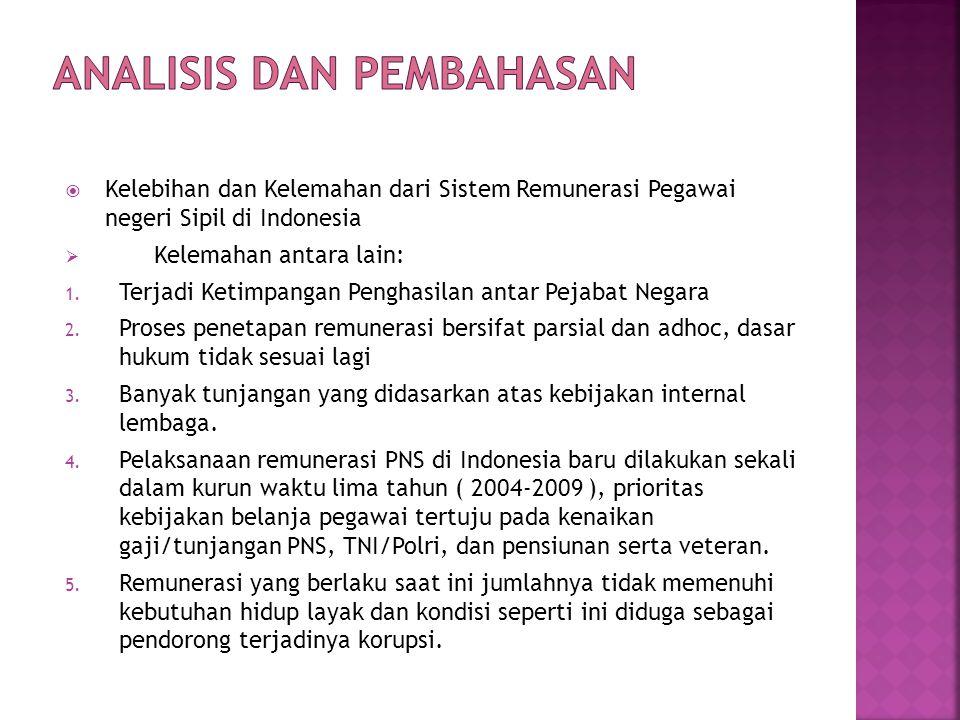  Kelebihan dan Kelemahan dari Sistem Remunerasi Pegawai negeri Sipil di Indonesia  Kelemahan antara lain: 1. Terjadi Ketimpangan Penghasilan antar P