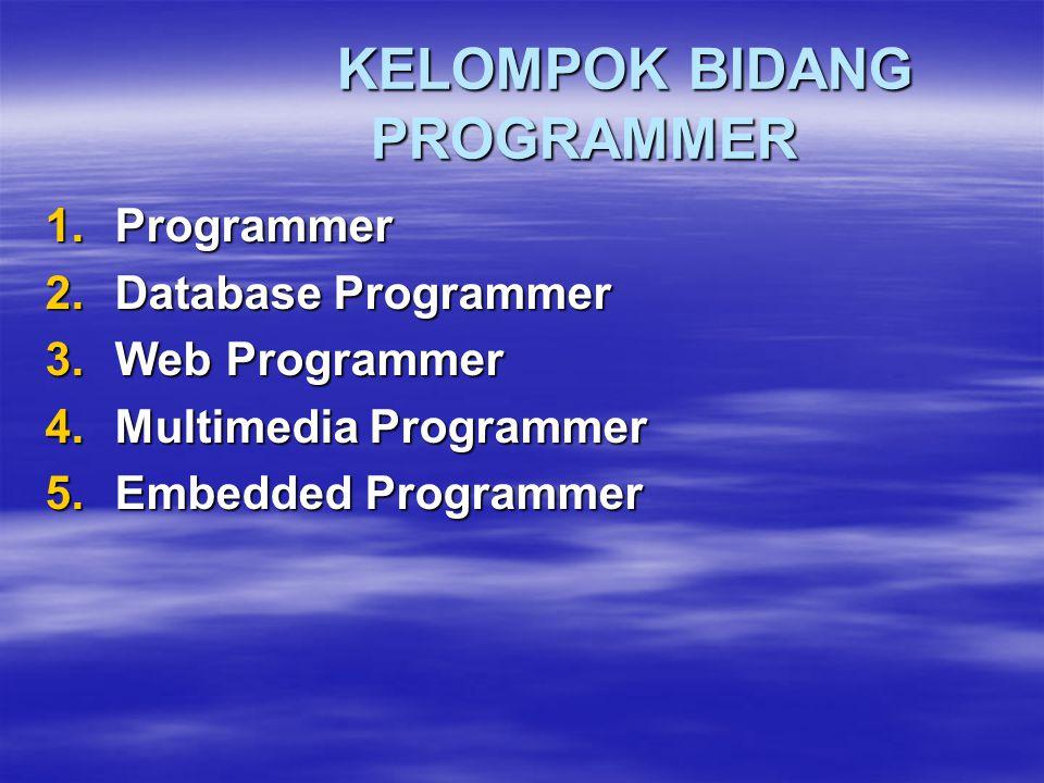 KELOMPOK BIDANG PROGRAMMER 1.Programmer 2.Database Programmer 3.Web Programmer 4.Multimedia Programmer 5.Embedded Programmer