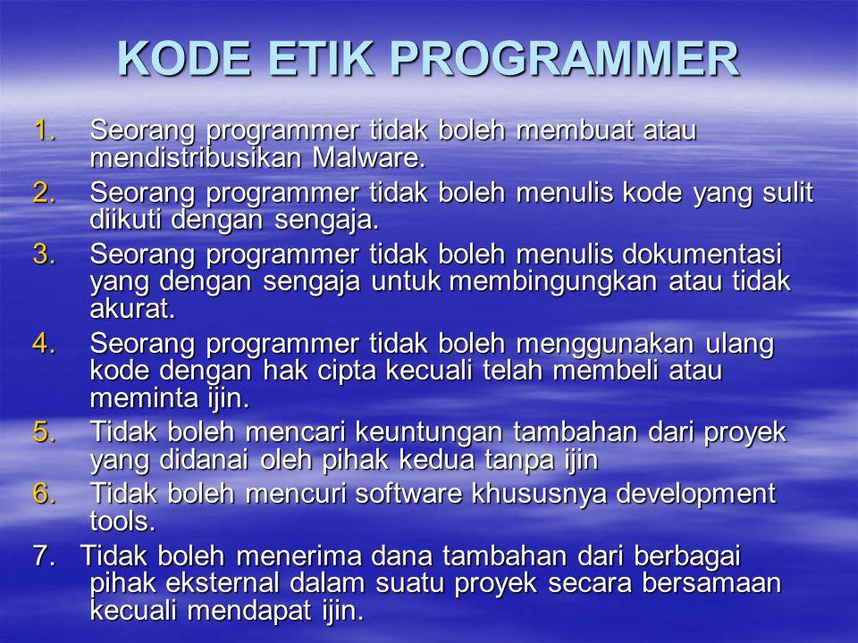 KODE ETIK PROGRAMMER 1.Seorang programmer tidak boleh membuat atau mendistribusikan Malware. 2.Seorang programmer tidak boleh menulis kode yang sulit