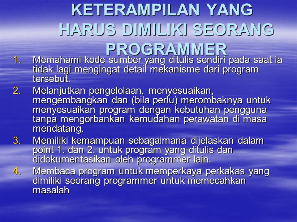 KETERAMPILAN YANG HARUS DIMILIKI SEORANG PROGRAMMER KETERAMPILAN YANG HARUS DIMILIKI SEORANG PROGRAMMER 1.Memahami kode sumber yang ditulis sendiri pa