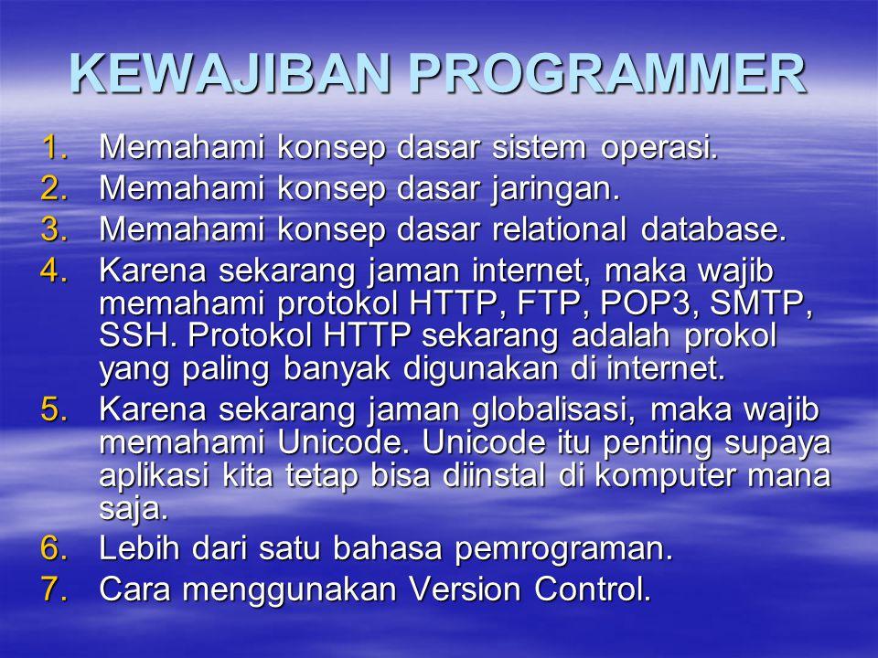 KEWAJIBAN PROGRAMMER 1.Memahami konsep dasar sistem operasi. 2.Memahami konsep dasar jaringan. 3.Memahami konsep dasar relational database. 4.Karena s