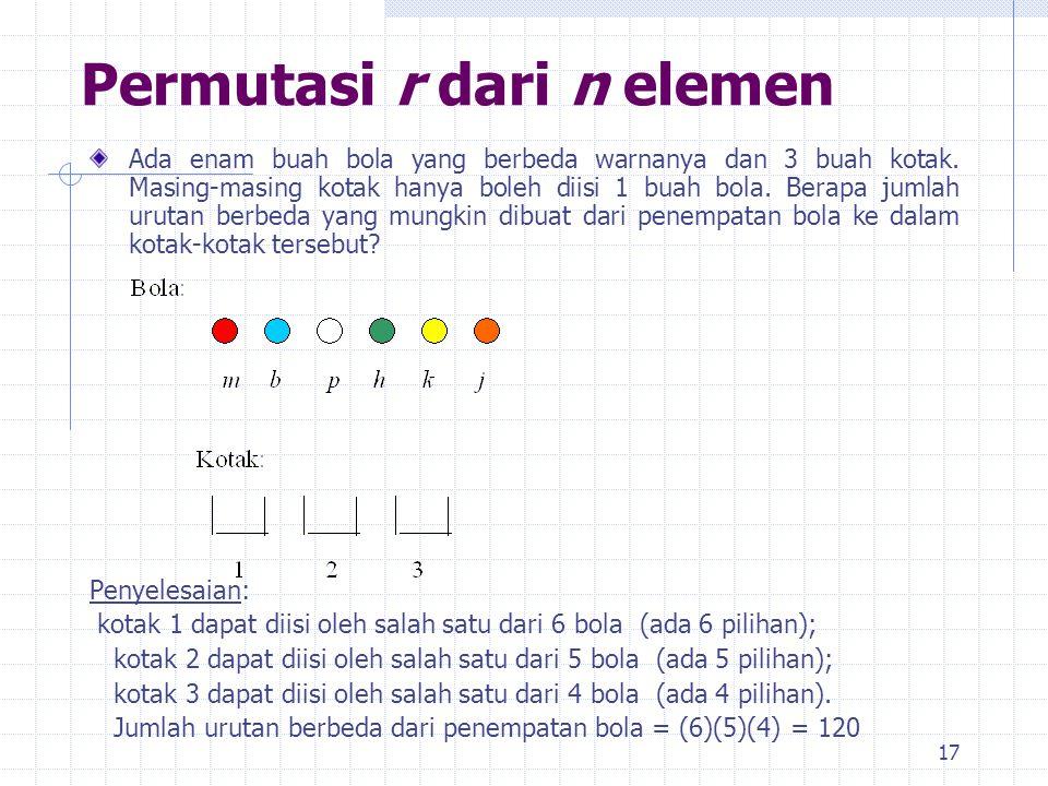 17 Permutasi r dari n elemen Ada enam buah bola yang berbeda warnanya dan 3 buah kotak.