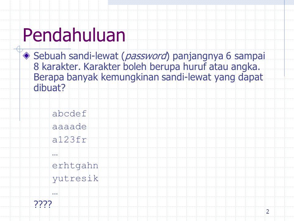 2 Pendahuluan Sebuah sandi-lewat (password) panjangnya 6 sampai 8 karakter.