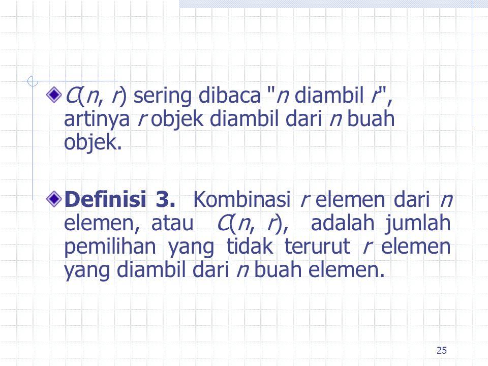 25 C(n, r) sering dibaca n diambil r , artinya r objek diambil dari n buah objek.