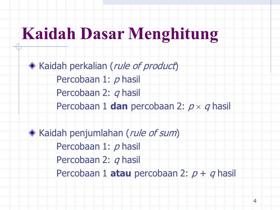4 Kaidah Dasar Menghitung Kaidah perkalian (rule of product) Percobaan 1: p hasil Percobaan 2: q hasil Percobaan 1 dan percobaan 2: p  q hasil Kaidah penjumlahan (rule of sum) Percobaan 1: p hasil Percobaan 2: q hasil Percobaan 1 atau percobaan 2: p + q hasil