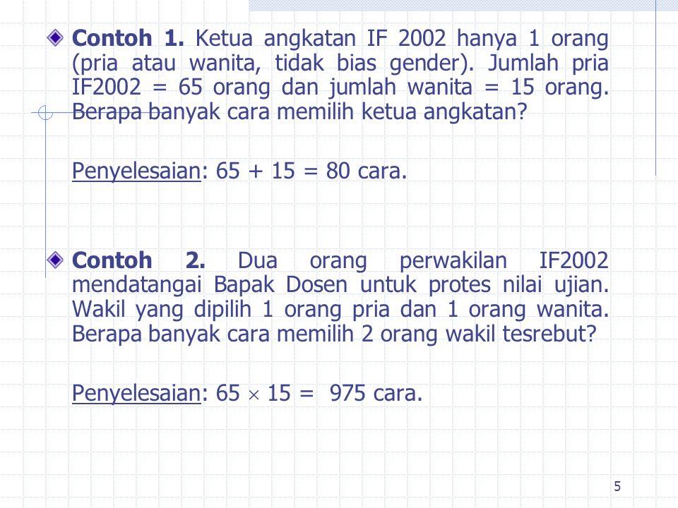 5 Contoh 1.Ketua angkatan IF 2002 hanya 1 orang (pria atau wanita, tidak bias gender).