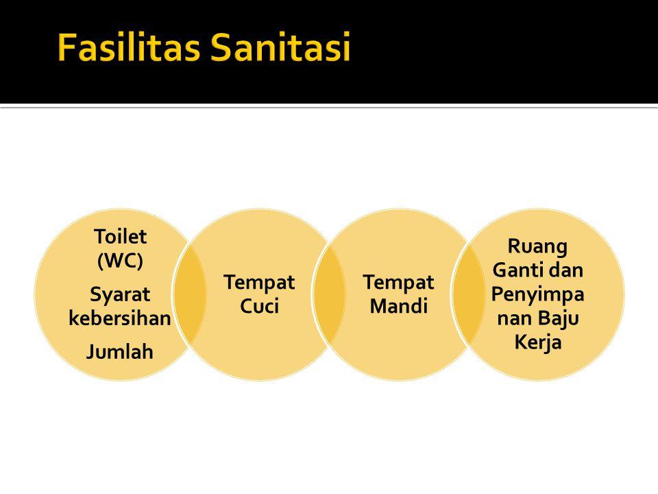 Toilet (WC) Syarat kebersihan Jumlah Tempat Cuci Tempat Mandi Ruang Ganti dan Penyimpa nan Baju Kerja