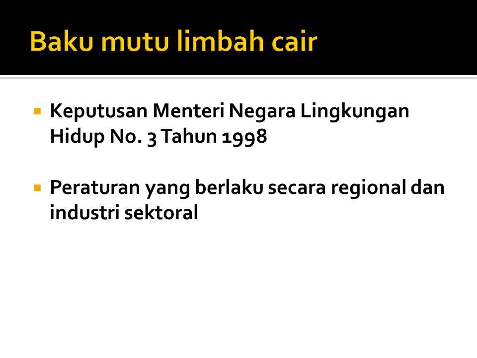  Keputusan Menteri Negara Lingkungan Hidup No. 3 Tahun 1998  Peraturan yang berlaku secara regional dan industri sektoral