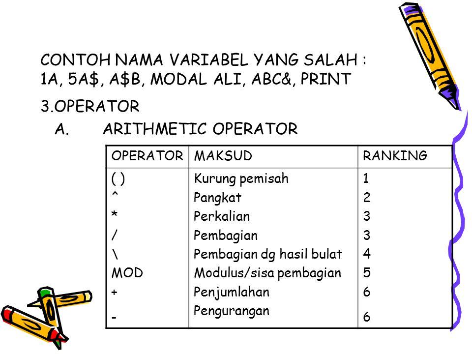 CONTOH NAMA VARIABEL YANG SALAH : 1A, 5A$, A$B, MODAL ALI, ABC&, PRINT 3.OPERATOR A. ARITHMETIC OPERATOR OPERATORMAKSUDRANKING ( ) ^ * / \ MOD + - Kur