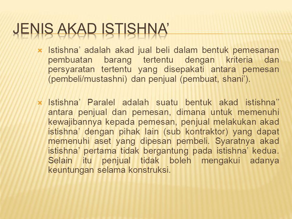  Beban praakad diakui sebagai beban tangguhan dan diperhitungkan sebagai biaya istishna' jika akad disepakati.