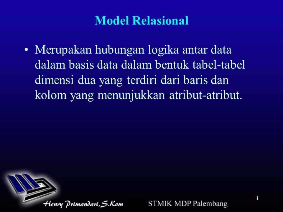 1 Model Relasional Merupakan hubungan logika antar data dalam basis data dalam bentuk tabel-tabel dimensi dua yang terdiri dari baris dan kolom yang m