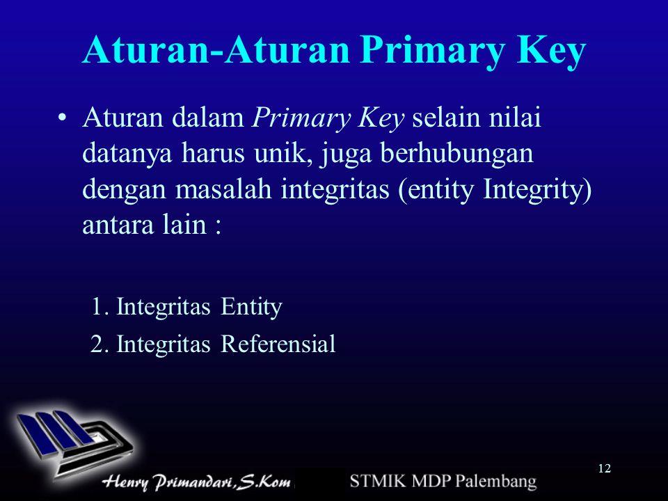 12 Aturan-Aturan Primary Key Aturan dalam Primary Key selain nilai datanya harus unik, juga berhubungan dengan masalah integritas (entity Integrity) a