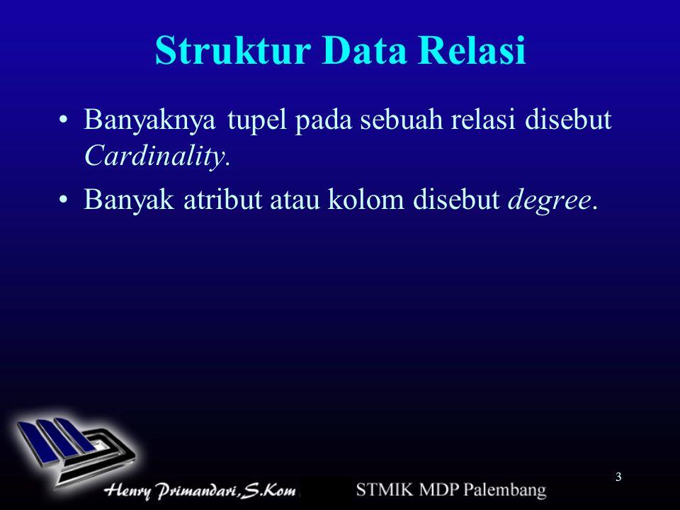 3 Struktur Data Relasi Banyaknya tupel pada sebuah relasi disebut Cardinality. Banyak atribut atau kolom disebut degree.