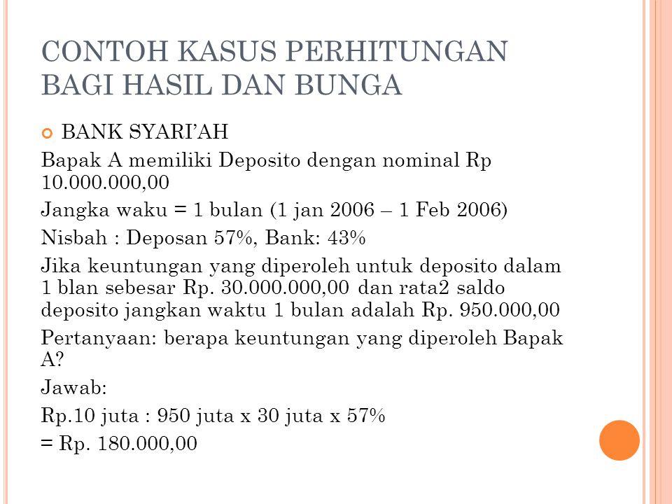 CONTOH KASUS PERHITUNGAN BAGI HASIL DAN BUNGA BANK SYARI'AH Bapak A memiliki Deposito dengan nominal Rp 10.000.000,00 Jangka waku = 1 bulan (1 jan 200