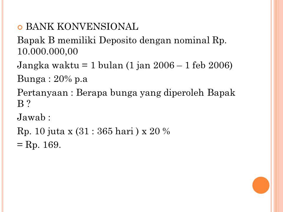 BANK KONVENSIONAL Bapak B memiliki Deposito dengan nominal Rp. 10.000.000,00 Jangka waktu = 1 bulan (1 jan 2006 – 1 feb 2006) Bunga : 20% p.a Pertanya