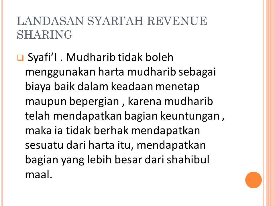 LANDASAN SYARI'AH REVENUE SHARING  Syafi'I. Mudharib tidak boleh menggunakan harta mudharib sebagai biaya baik dalam keadaan menetap maupun bepergian