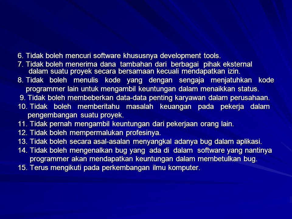 6. Tidak boleh mencuri software khususnya development tools. 7. Tidak boleh menerima dana tambahan dari berbagai pihak eksternal dalam suatu proyek se
