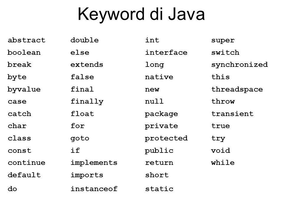 Keyword di Java abstractdoubleintsuper booleanelseinterfaceswitch breakextendslongsynchronized bytefalsenativethis byvaluefinalnewthreadspace casefina