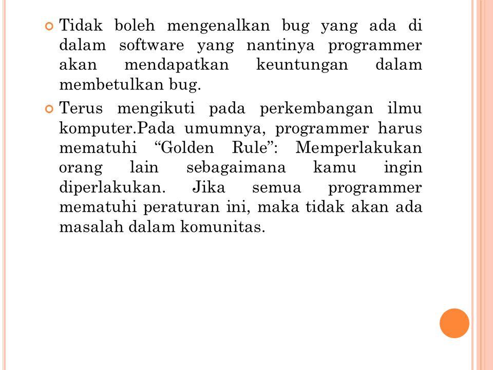 Tidak boleh mencuri software khususnya development tools.