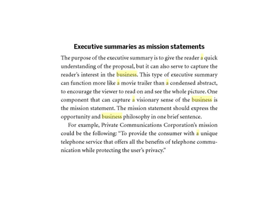 item-item apa saja yang harus ada dalam rangkuman atau executive summary.