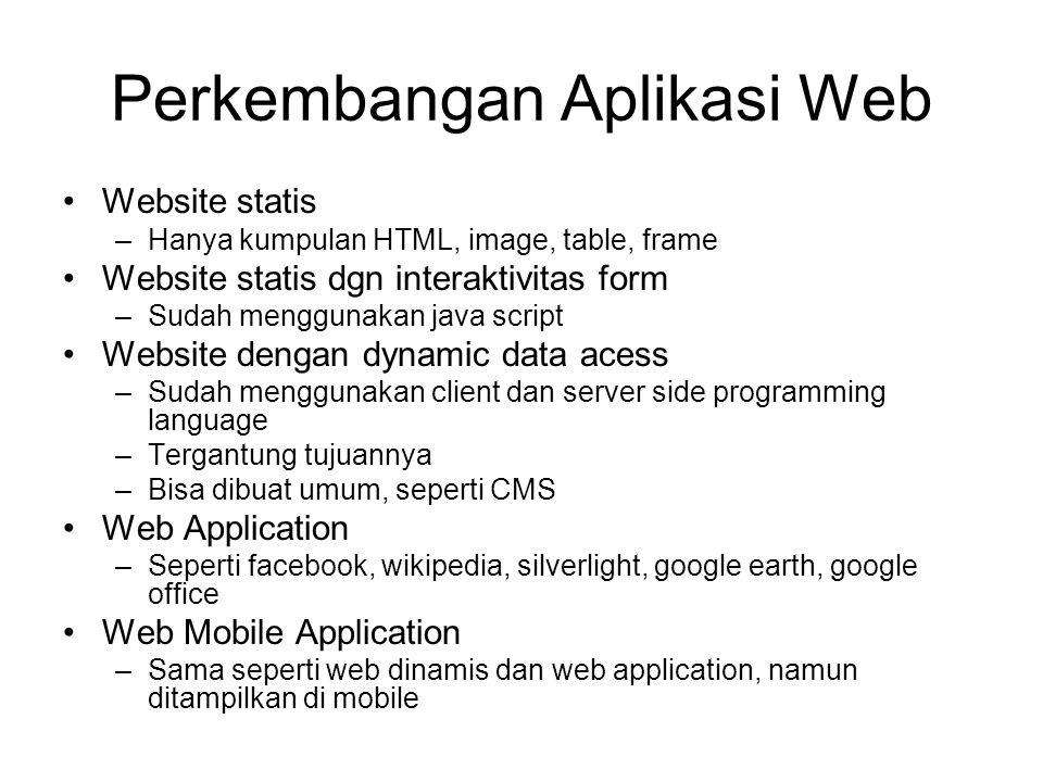 Perkembangan Aplikasi Web Website statis –Hanya kumpulan HTML, image, table, frame Website statis dgn interaktivitas form –Sudah menggunakan java scri