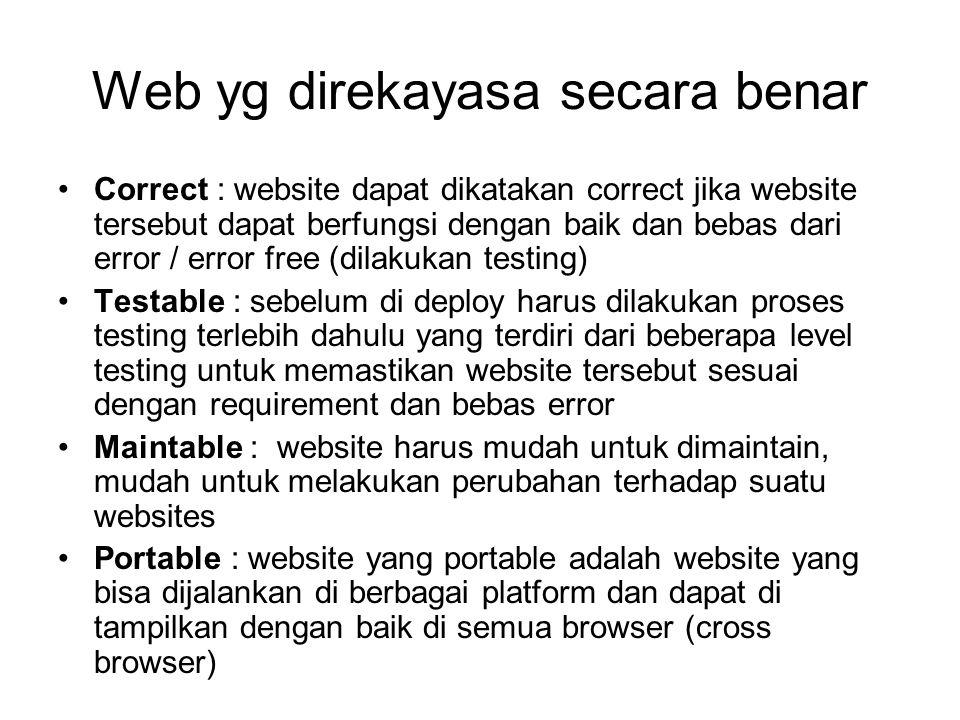 Web yg direkayasa secara benar Correct : website dapat dikatakan correct jika website tersebut dapat berfungsi dengan baik dan bebas dari error / erro