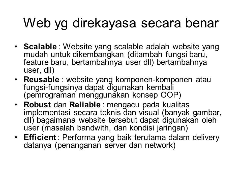 Web yg direkayasa secara benar Scalable : Website yang scalable adalah website yang mudah untuk dikembangkan (ditambah fungsi baru, feature baru, bert