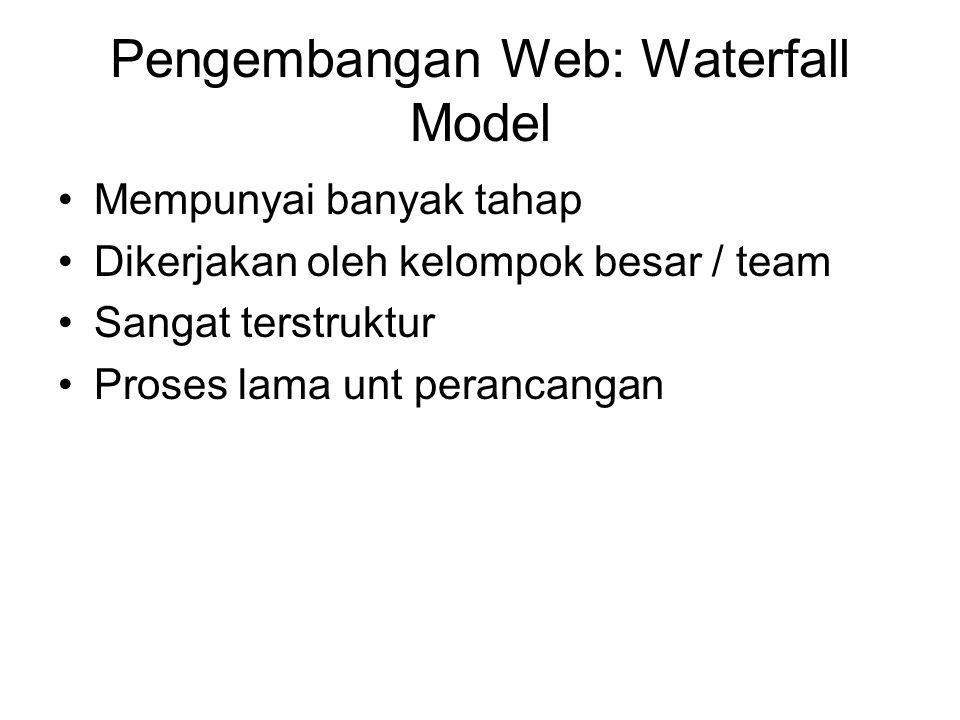Pengembangan Web: Waterfall Model Mempunyai banyak tahap Dikerjakan oleh kelompok besar / team Sangat terstruktur Proses lama unt perancangan