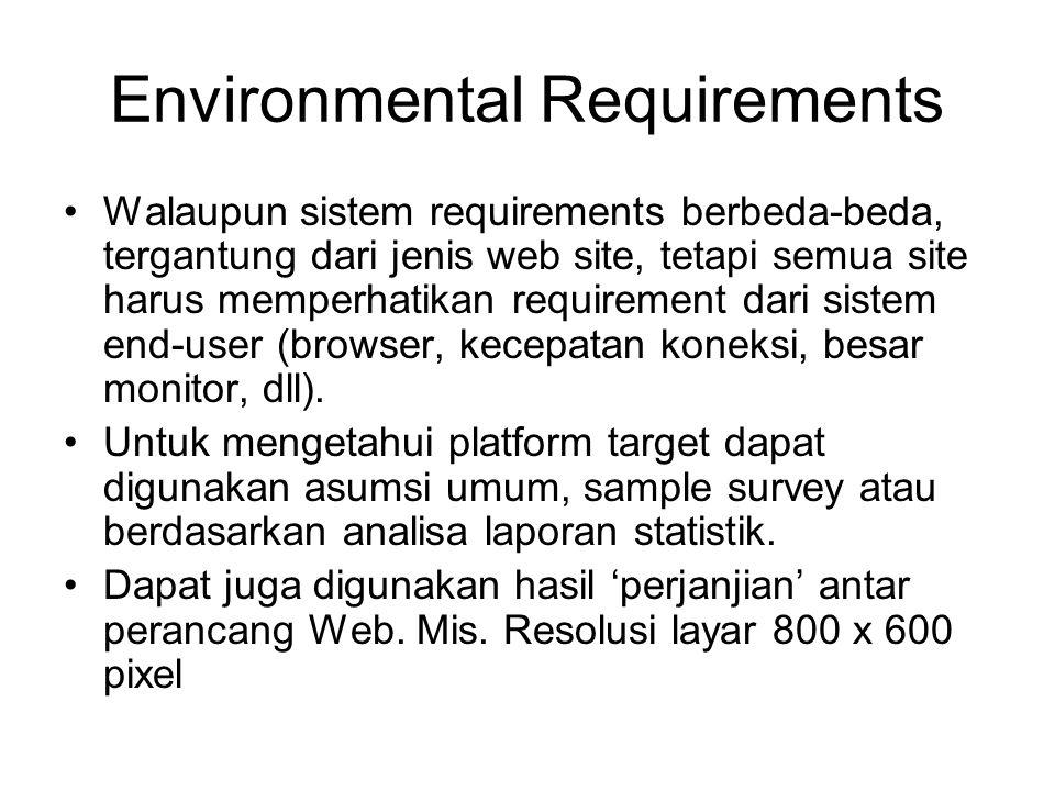 Environmental Requirements Walaupun sistem requirements berbeda-beda, tergantung dari jenis web site, tetapi semua site harus memperhatikan requiremen