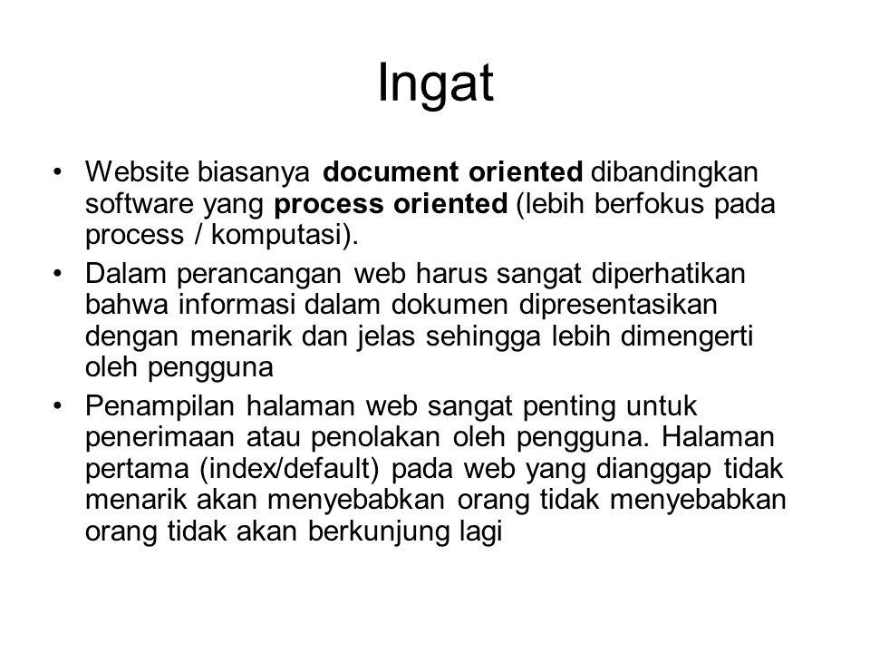 Ingat Website biasanya document oriented dibandingkan software yang process oriented (lebih berfokus pada process / komputasi). Dalam perancangan web