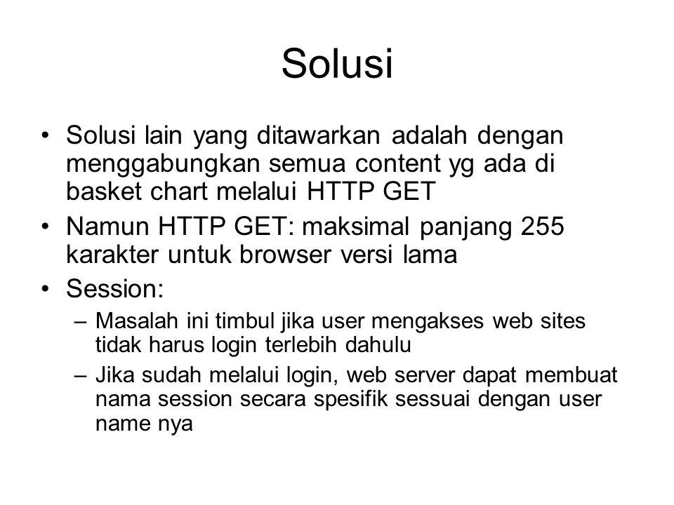 Solusi Solusi lain yang ditawarkan adalah dengan menggabungkan semua content yg ada di basket chart melalui HTTP GET Namun HTTP GET: maksimal panjang