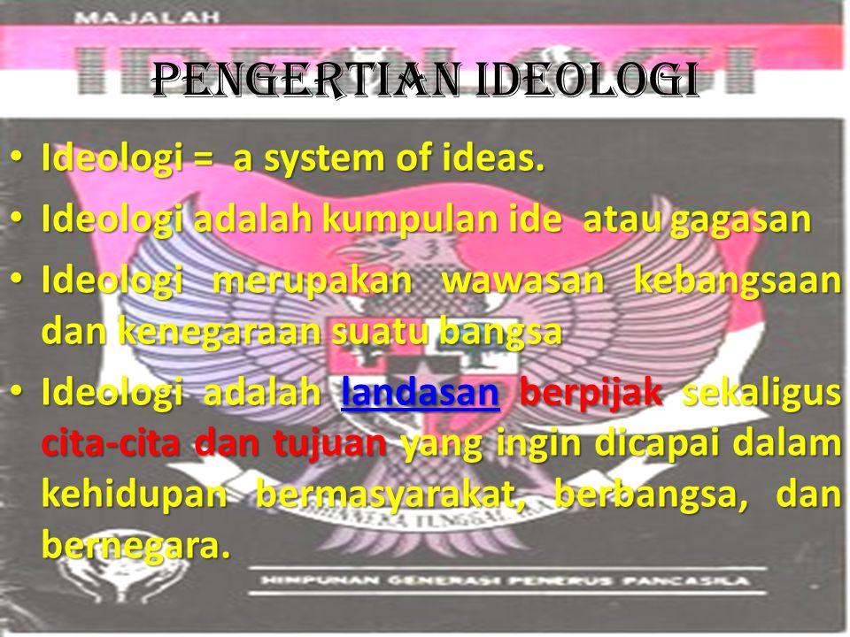 Pengertian ideologi Ideologi = a system of ideas. Ideologi = a system of ideas. Ideologi adalah kumpulan ide atau gagasan Ideologi adalah kumpulan ide