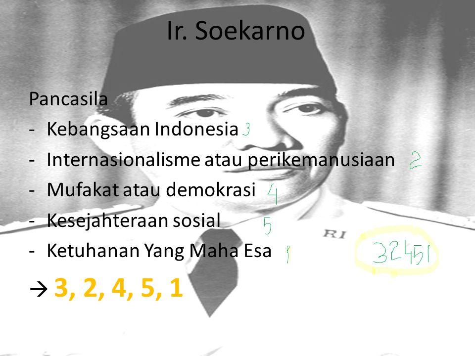 Ir. Soekarno Pancasila -Kebangsaan Indonesia -Internasionalisme atau perikemanusiaan -Mufakat atau demokrasi -Kesejahteraan sosial -Ketuhanan Yang Mah