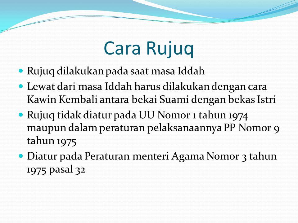 Cara Rujuq Rujuq dilakukan pada saat masa Iddah Lewat dari masa Iddah harus dilakukan dengan cara Kawin Kembali antara bekai Suami dengan bekas Istri