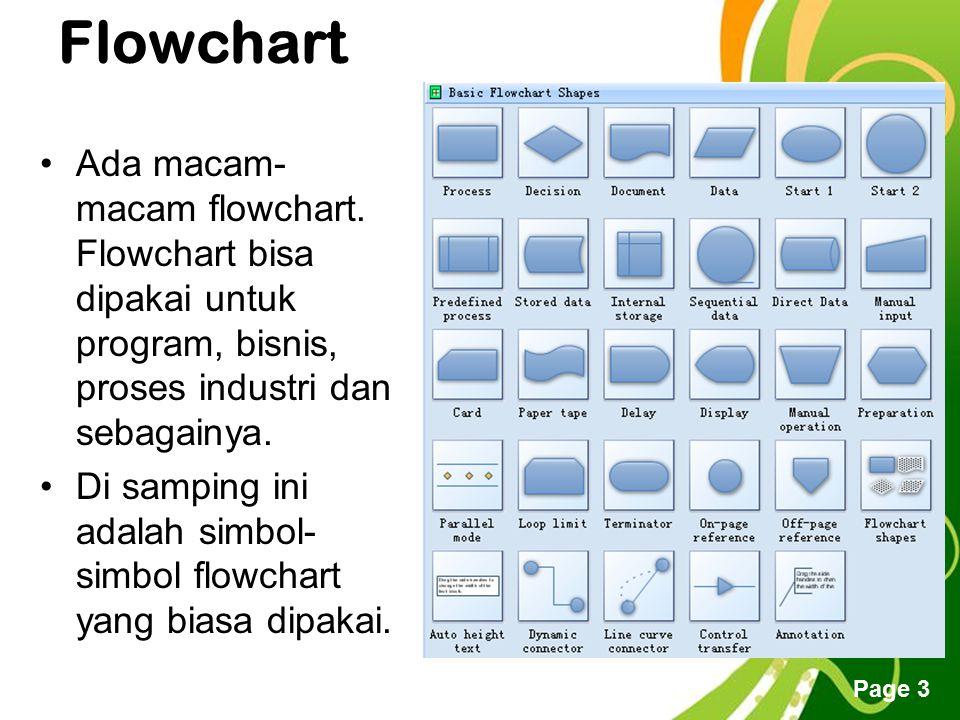 Free Powerpoint Templates Page 3 Flowchart Ada macam- macam flowchart. Flowchart bisa dipakai untuk program, bisnis, proses industri dan sebagainya. D