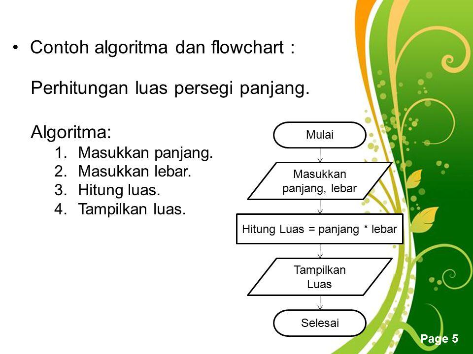 Free Powerpoint Templates Page 5 Contoh algoritma dan flowchart : Perhitungan luas persegi panjang. Algoritma: 1.Masukkan panjang. 2.Masukkan lebar. 3