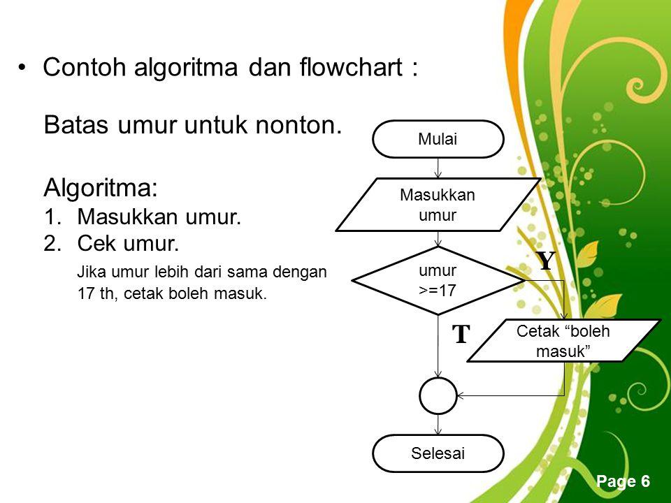 Free Powerpoint Templates Page 6 Contoh algoritma dan flowchart : Batas umur untuk nonton. Algoritma: 1.Masukkan umur. 2.Cek umur. Jika umur lebih dar