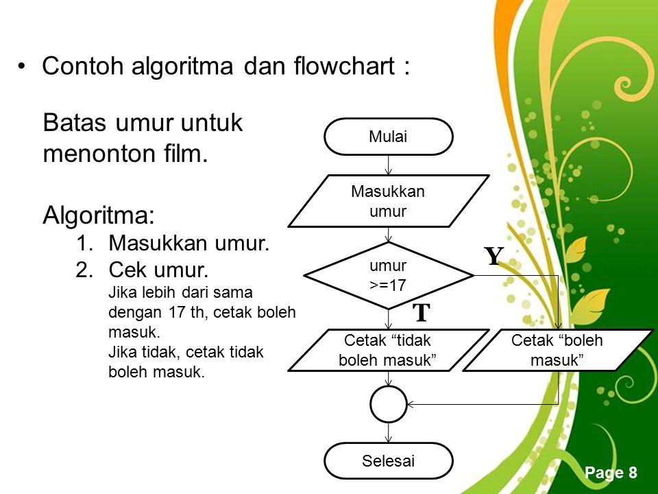 Free Powerpoint Templates Page 8 Contoh algoritma dan flowchart : Batas umur untuk menonton film. Algoritma: 1.Masukkan umur. 2.Cek umur. Jika lebih d